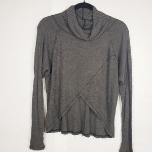We the free grey waffle cowl neck top